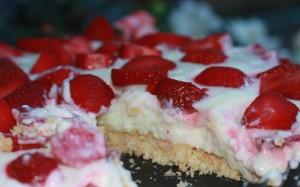 Philadelphia Kuchen mit Erdbeeren